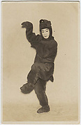 Kabuki actor in wild boar costume from Godanme, (Yamazaki Kaido no Ba scene), performed at the Shimbashi Embujo Theater, Tokyo, Sept. 1927, silver gelatin bromide.<br />