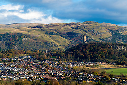 View over city of Stirling with Wallace Monument to rear in Stirlingshire, Scotland, United Kingdom.