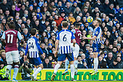 Anwar El Ghazi (Aston Villa) and Adam Webster (Brighton) going for the ball with Adam Webster (Brighton) getting the header during the Premier League match between Brighton and Hove Albion and Aston Villa at the American Express Community Stadium, Brighton and Hove, England on 18 January 2020.