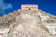 El Castillo, or The Castle, is the center attraction of Chichen Itza, ancient Mayan ruins on the Yucatan Peninsula in Mexico.
