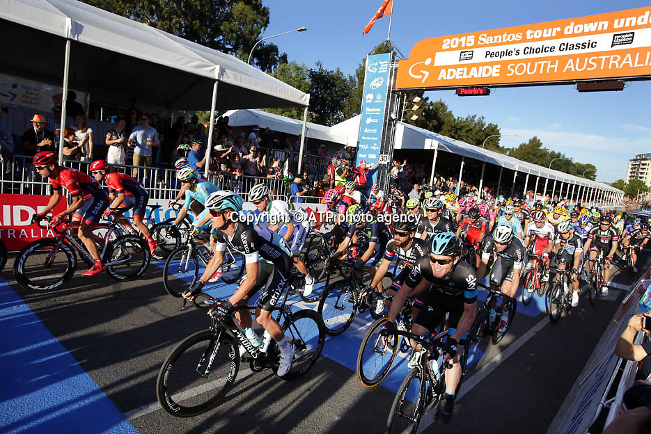 Riders pass the start line on the 2015 People?s Choice Classic  - 18.01. ADELAIDE,  Tour Down Under Australia 2015, Cycling, road race, Radrennen, Australien -  Radsport - Rad Rennen -<br /> - fee liable image: copyright &copy; ATP -