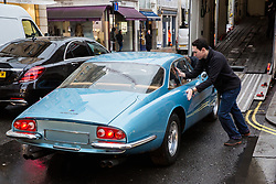 London, UK. 29th November, 2018. Auctioneers Bonhams move a 1966 Ferrari 500 Superfast Series II Coupé in preparation for an auction of historic and high-performance racing and road cars. Highlights include a Le Mans class-winning Jaguar XJ220C driven by David Coulthard (£2,200,000-2,800,000), a Lister Jaguar Knobbly (£2,200,000-2,800,000) and a 1958 BMW 507 owned by its designer, as well as Ferraris, Aston Martins, Bentleys, Porsches and Jaguars. Bonhams, founded in 1793, is one of the world's largest and most renowned auctioneers of fine art and antiques, motor cars and jewellery.