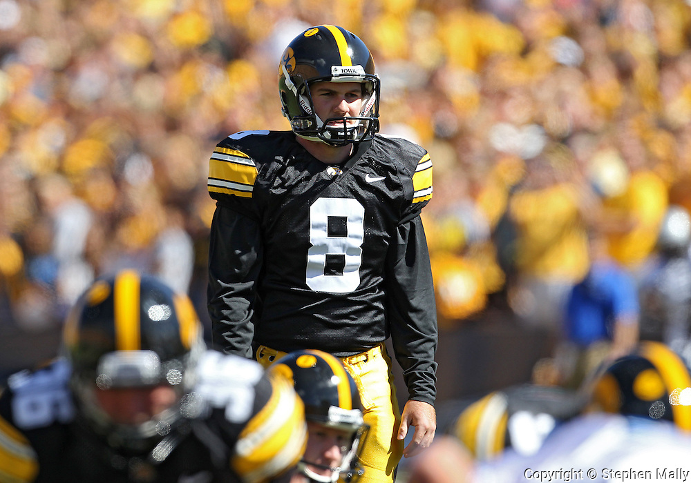 September 4 2010: Iowa Hawkeyes kicker Trent Mossbrucker (8) lines up for an extra point attempt during the first quarter of the NCAA football game between the Eastern Illinois Panthers and the Iowa Hawkeyes at Kinnick Stadium in Iowa City, Iowa on Saturday September 4, 2010. Iowa defeated Eastern Illinois 37-7.