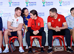 NANNING, CHINA - Saturday, March 24, 2018: Czech Republic's Lukáš Masopust and Wales Harry Wilson and Sam Vokes during a meet & greet event at the Nanning Wanda Mall during the 2018 Gree China Cup International Football Championship. (Pic by David Rawcliffe/Propaganda)