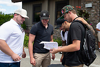KELOWNA, CANADA - JULY 21: Carter Rigby, Joe Gatenby, Tyrell Goulbourne and Damon Severson check out the golf teams at the Kelowna Rockets Alumni golf tournament at Black Mountain Golf Club in Kelowna, British Columbia, Canada.  (Photo by Marissa Baecker/Shoot the Breeze)  *** Local Caption ***