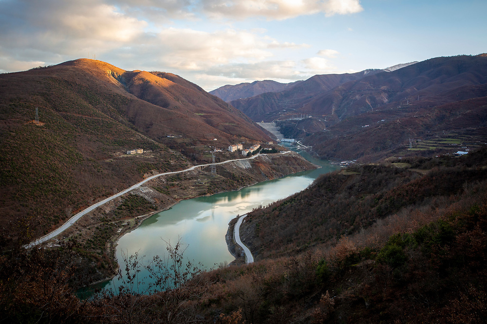 The Dam of the Fierzë Hydroelectric Power Station uses water from the river Drin to generate electricity on the 12th of December 2018, Sckoder County, Albania.  The dam has a total volume of 8 million cubic meters and has an annual average power output of 1,330GWh.  (photo by Andrew Aitchison / In pictures via Getty Images)