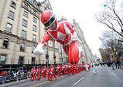 The Red Mighty Morphin Power Ranger makes his legendary debut at the 88th annual Macy's Thanksgiving Day Parade, Thursday, Nov. 27, 2014, in New York. (Photo by Diane Bondareff/Invision for Power Rangers/AP Images)