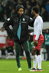 27.11.2011, Weserstadion, Bremen, GER, 1.FBL, Werder Bremen vs VfB Stuttgart, im Bild Wesley (Bremen #5, links) tröstet Cacau (Stuttgart #18, rechts) // during the match Werder Bremen vs VfB Stuttgart on 2011/11/27, Weserstadion, Bremen, Germany. EXPA Pictures © 2011, PhotoCredit: EXPA/ nph/ Frisch..***** ATTENTION - OUT OF GER, CRO *****