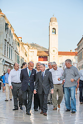 "27.09.2013, Stradun, Dubrovnik, CRO, FIA Action for Road Safety, im Bild FIA Praesident Jean Todt in Dubrovnikim Rahmen des FIA Action Road Safety Tages. Mitglieder des Lokalen Automobil Clubs und Kinder trainierten auf Fahrrädern // In front of the Rector's Palace Jean Todt visited event ""FIA Action for Road Safety."" It was attended by members of the Automobile Club Dubrovnik racing and city kids who competed in the training area on bicycles. The whole operation came as support of president of FIA Jean Todt and the Chairmen of the global automotive organization, as well as Mayor Andro Vlahusic. Jean Todt with Zrinko Gregurek, member of FIA World Motor Sport Council (WMSC), Sradun, Dubrovnik, Croatia on 2013/09/27. EXPA Pictures © 2013, PhotoCredit: EXPA/ Pixsell/ Grgo Jelavic<br /> <br /> ***** ATTENTION - for AUT, SLO, SUI, ITA, FRA only *****"