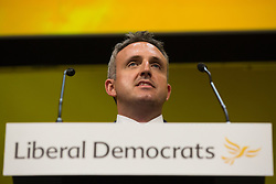 Bournemouth, UK. 15 September, 2019. Alex Cole-Hamilton, Scottish Liberal Democrat MSP for Edinburgh Western, speaks on the Stop Brexit motion during the Liberal Democrat Autumn Conference. Following a vote won by an overwhelming majority, the Liberal Democrats pledged to cancel Brexit if they win power at the next general election. This marks a shift in policy from their previous backing for a People's Vote. Credit: Mark Kerrison/Alamy Live News