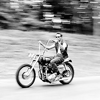 A man riding a motorcycle