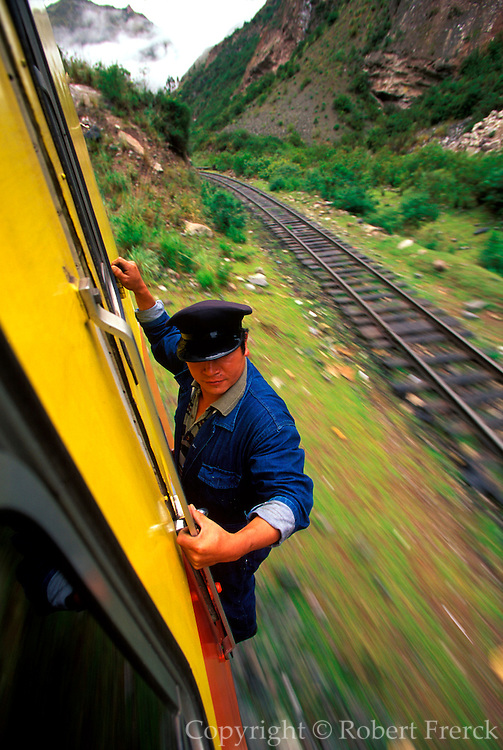 PERU, MACHU PICCHU, TRAIN one of the world's most famous train rides  thru the Inca Sacred Valley from Cuzco to  Machu Picchu
