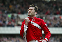 Photo: Andrew Unwin.<br /> Middlesbrough v Bolton Wanderers. The Barclays Premiership. 26/03/2006.<br /> Middlesbrough's Mark Viduka celebrates scoring his team's second goal.