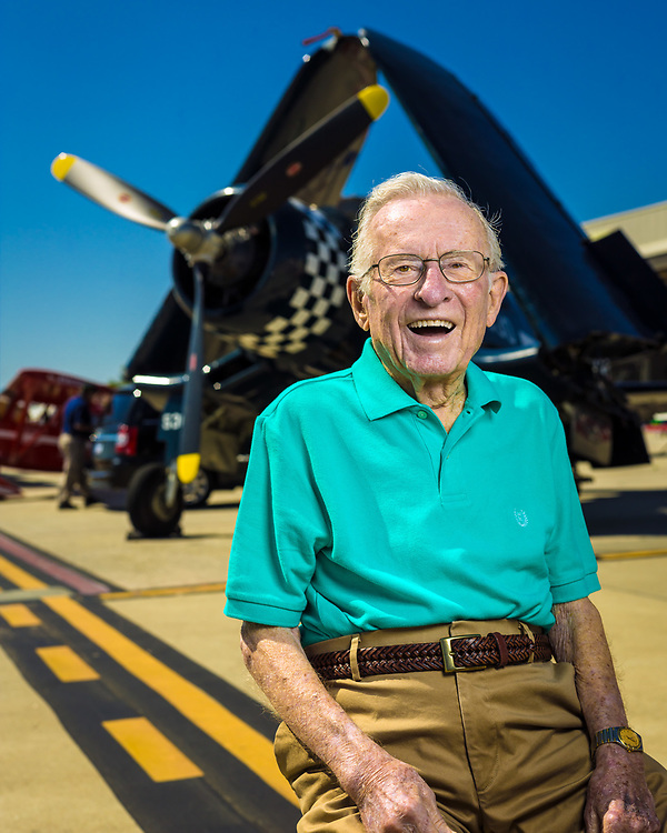 Corsair pilot Julian Scott graduated from Naval flight school in the waning days of WWII, and remained in the reserves, flying out of the Naval Air Station in Atlanta. Today it is known as Dekalb Peachtree Airport, where this image was created.  Created by aviation photographer John Slemp of Aerographs Aviation Photography. Clients include Goodyear Aviation Tires, Phillips 66 Aviation Fuels, Smithsonian Air & Space magazine, and The Lindbergh Foundation.  Specialising in high end commercial aviation photography and the supply of aviation stock photography for commercial and marketing use.