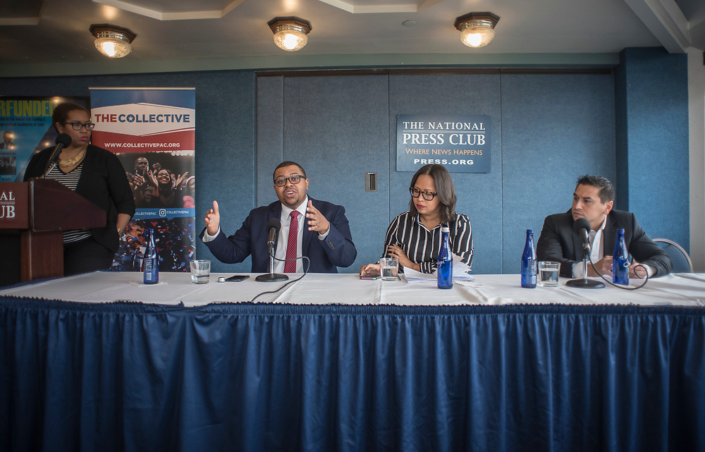 WASHINGTON, DC -- 3/7/18 --  From left: Stefanie Brown James, Quentin James, Jessica Byrd, and Ravi Gupta discuss the report.<br /> The Collective PAC releases a report entitled Underfunded, that details the disparities in funding for candidates of color compared to their white counterparts. Panelists discussing the report include Quentin James and Stefanie Brown James, co-founders of the Collective PAC; Jessica Byrd, founder of consulting firm Three Point Strategies; Ravi Gupta of The Arena and Jeff Johnson of JIJ Communications .&hellip;by Andr&eacute; Chung #_AC11048