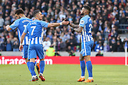 Brighton and Hove Albion midfielder Beram Kayal (7) congratulates Brighton and Hove Albion striker Jurgen Locadia (25) on his first goal 1-0 during the The FA Cup match between Brighton and Hove Albion and Coventry City at the American Express Community Stadium, Brighton and Hove, England on 17 February 2018. Picture by Phil Duncan.