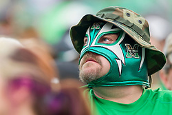 Oct 24, 2015; Huntington, WV, USA; A Marshall Thundering Herd fan is seen during the second quarter against the North Texas Mean Green at Joan C. Edwards Stadium. Mandatory Credit: Ben Queen-USA TODAY Sports