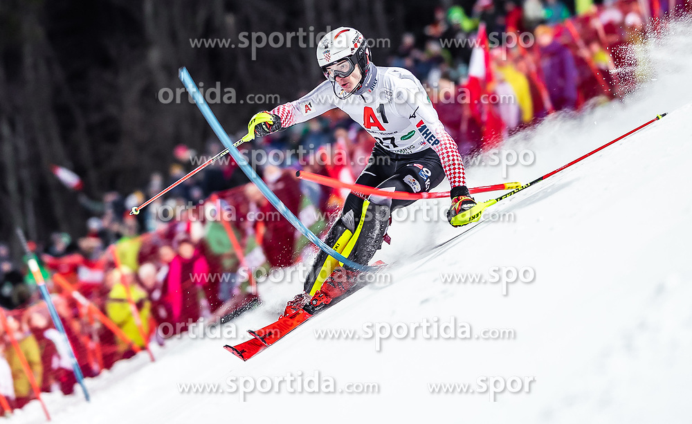 "29.01.2019, Planai, Schladming, AUT, FIS Weltcup Ski Alpin, Slalom, Herren, 1. Lauf, im Bild Istok Rodes (CRO) // Istok Rodes of Croatia in action during his 1st run of men's Slalom ""the Nightrace"" of FIS ski alpine world cup at the Planai in Schladming, Austria on 2019/01/29. EXPA Pictures © 2019, PhotoCredit: EXPA/ JFK"