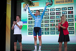 Cecilie Uttrup Ludwig (DEN) of Cervélo-Bigla Cycling Team celebrates retaining the best Women's World Tour young rider's jersey after  La Course 2017 - a 67.5 km road race, from Briancon to Izoard on July 20, 2017, in Hautes-Alpes, France. (Photo by Balint Hamvas/Velofocus.com)