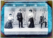 vintage glass plate multi exposed portrait of two people with retouching markings