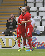 Greg Stewart congratulates Martin Boyle on his goal  - Morecambe v Dundee, pre-season friendly at the Globe Arena<br /> <br />  - &copy; David Young - www.davidyoungphoto.co.uk - email: davidyoungphoto@gmail.com