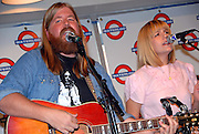 Brothers and Sisters, led by real-life siblings Will and Lily Courtney, at a Waterloo Records in-store appearance, Austin Texas, July 16 2008. Brothers and Sisters are based in Austin Texas and play folk rock indie music.