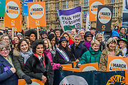 The march was led by Sadiq Khan, Natalie Imbruglia, Sandi Toksvig, Bianca Jagger and a group of female MP's - Jagger#March4Women 2018, a march and rally in London to celebrate International Women's Day and 100 years since the first women in the UK gained the right to vote.  Organised by Care International the march stated at Old Palace Yard and ended in a rally in Trafalgar Square.