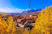 Gondola from the town of Telluride to Telluride Mountain Village, Telluride, Colorado USA.