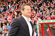 Swindon Town manager Mark Cooper during the Sky Bet League 1 Play Off Second Leg match between Swindon Town and Sheffield Utd at the County Ground, Swindon, England on 11 May 2015. Photo by Shane Healey.