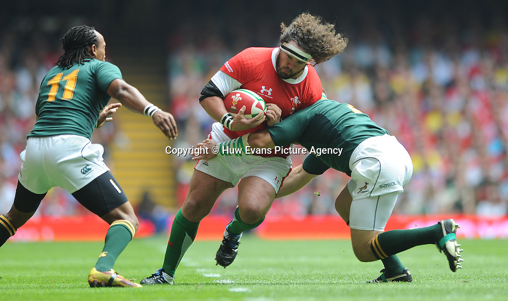 05.06.10 - Wales v South Africa - Principality Building Society Summer Test -<br /> Adam Jones of Wales takes on BJ Botha of South Africa.<br /> &copy;Huw Evans Picture Agency