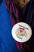 A student wears a Jack Emery Food Drive pin during the Jack Emery Food Drive luncheon at Milpitas Community Center in Milpitas, California, on November 4, 2014. (Stan Olszewski/SOSKIphoto)