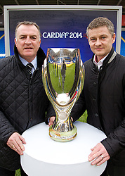 +++ FREE USE FOR STORIES PROMOTING THE UEFA SUPER CUP 2014 ONLY +++<br /> <br /> CARDIFF, WALES - Monday, February 17, 2014: Former Wales captain Kevin Ratcliffe [L] and Cardiff City manager manager Ole Gunnar Solskj&aelig;r [R] launch the UEFA Super Cup 2014 which will be played at the Cardiff City Stadium on 12th August. (Pic by David Rawcliffe/Propaganda)
