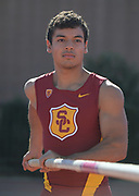 Nov 2, 2017; Los Angeles, CA, USA; Southern California Trojans pole vault Michael Gonzalez during workout at Cromwell Field.
