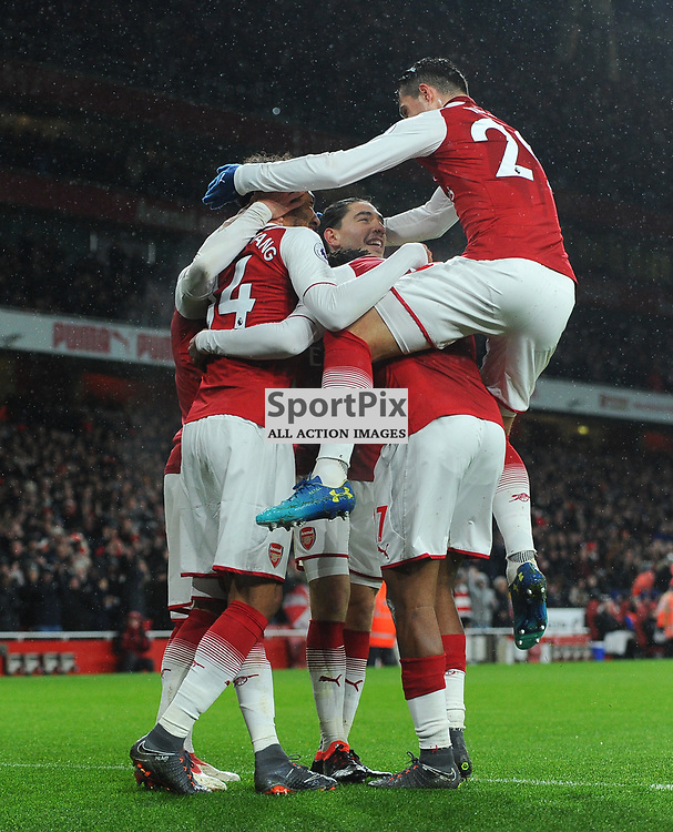Pierre-Emerick Aubameyang of Arsenal celebrates with teammates after scoring his sides fourth goal during Arsenal vs Everton, Premier League, 03.02.18 (c) Harriet Lander | SportPix.org.uk