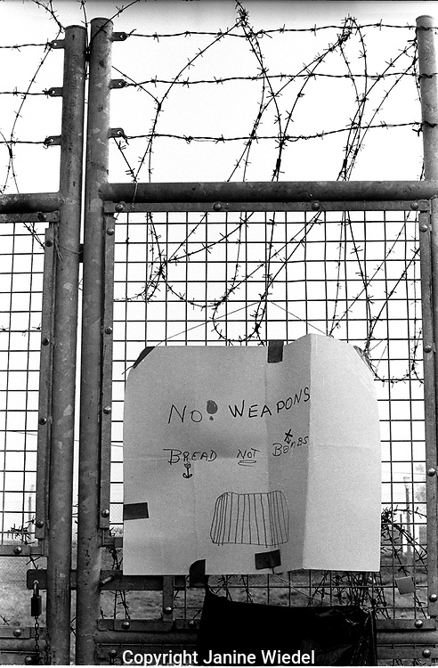 Perimeter fence at the anti-nuclear Greenham Common Women's Peace Camp in 1983 / 1984. The women only camp surrounded the RAF  base in Berkshire (UK) where American cruise missiles were being stored.