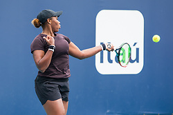 March 18, 2019 - Miami Gardens, FL, U.S. - MIAMI GARDENS, FL - MARCH 18: Taylor Townsend (USA) in action during the Miami Open on March 18, 2019 at Hard Rock Stadium in Miami Gardens, FL. (Photo by Aaron Gilbert/Icon Sportswire) (Credit Image: © Aaron Gilbert/Icon SMI via ZUMA Press)