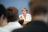 21 JUL 2010, BERLIN/GERMANY:<br /> Angela Merkel, CDU, Bundeskanzlerin, Pressekonferenz vor der Sommerpause, Bundespressekonferenz<br /> IMAGE: 20100721-02-010