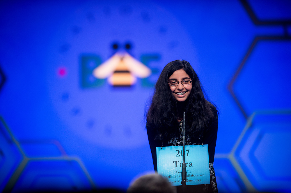 Tara Singh, 12, from Louisville, Ky., participates in the finals of the 2017 Scripps National Spelling Bee on Thursday, June 1, 2017 at the Gaylord National Resort and Convention Center at National Harbor in Oxon Hill, Md.      Photo by Pete Marovich/UPI