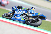 #42 Alex Rins, Spanish: Team Suzuki Ecstar during Friday Practice at the MotoGP Gran Premio d'Italia Oakley at Autodromo del Mugello Circuit, Senni-San Carlo, Italy on 1 June 2018. Picture by Graham Holt.