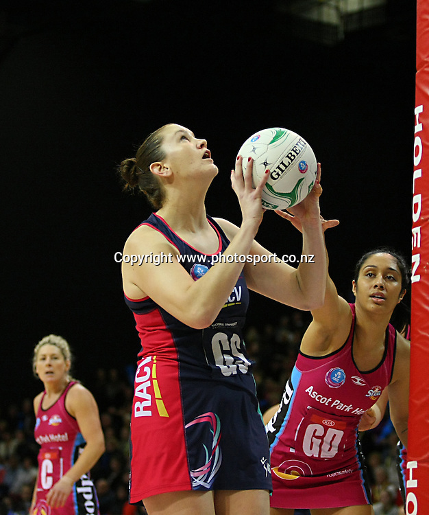 Vixens Karyn Bailey takes a shot at goal while defended by Steels Phoenix Karaka in the ANZ championship netball match, Steel v Vixens, ILT Stadium Southland, Invercargill, New Zealand, Saturday, May 31, 2014. Photo: Dianne Manson / www.photosport.co.nz