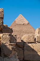 The Chephren Pyramid, Giza, Egypt seen through ruins.