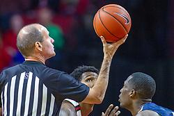 NORMAL, IL - November 29:  John Hampton prepares for an opening toss during a college basketball game between the ISU Redbirds and the Prairie Stars of University of Illinois Springfield (UIS) on November 29 2019 at Redbird Arena in Normal, IL. (Photo by Alan Look)