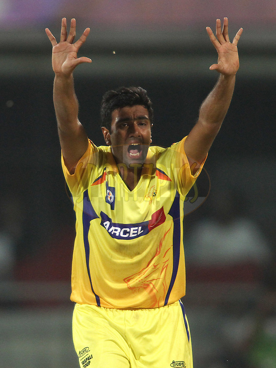 Ravichandran Ashwin of the Chennai Super Kings appeals unsuccessfully for LBW during match 11 of the the Indian Premier League ( IPL) 2012  between The Delhi Daredevils and the Chennai Superkings held at the Feroz Shah Kotla, Delhi on the 10th April 2012..Photo by Shaun Roy/IPL/SPORTZPICS