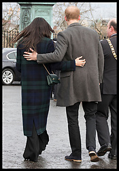 February 13, 2018 - Edinburgh, United Kingdom - Image licensed to i-Images Picture Agency. 13/02/2018. Edinburgh,Scotland,United Kingdom. Prince Harry and Meghan Markle  during their visit to Edinburgh Castle in Scotland, United Kingdom. (Credit Image: © Stephen Lock/i-Images via ZUMA Press)