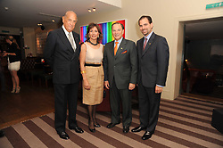A party to promote the exclusive Puntacana Resort & Club - the Caribbean's Premier Golf & Beach Resort Destination, was held at The Groucho Club, 45 Dean Street London on 12th May 2010.<br /> <br /> Picture shows:- Left to right, OSCAR DE LA RENTA, MR & MRS FRANK RAINIERI and FRANK ELIAS RAINIERI.