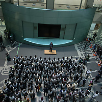 January22,2018,  Tokyo  volonteers and participants hold a first missile drill evacuation at Tokyo amusement park ,to prevent a strike of ICBM, intercontinental ballistic missile from north Korea. participant have less than ten minutes to find a shelter after announcement.Japan recently  pressure  to interntional community to make sanction against North Korea would be effective .Pierre Boutier
