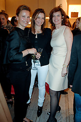 Left to right, BENEDICT DE PUYFONTAINE, SOPHIA CHARBONNEAU and SANDRINE JENSEN at a party to celebrate the publication of 'Parisian Chic: A Style guide' by Ines de La Fressange held at Roger Vivier, Sloane Street, London on 5th Apreil 2011.