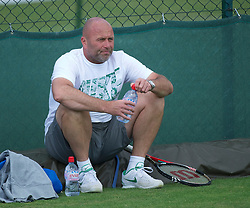 LONDON, ENGLAND - Friday, July 1, 2011: David Kotyza, coach of Petra Kvitova pictured during a practice session ahead of her first Grand Slam Final match on day eleven of the Wimbledon Lawn Tennis Championships at the All England Lawn Tennis and Croquet Club. (Pic by David Rawcliffe/Propaganda)