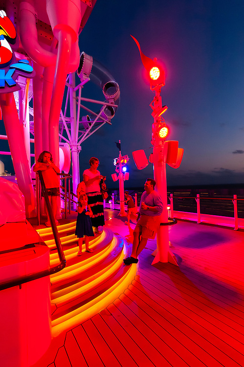 On deck on the new Disney Dream cruise ship, Disney Cruise Line, sailing between Florida and the Bahamas