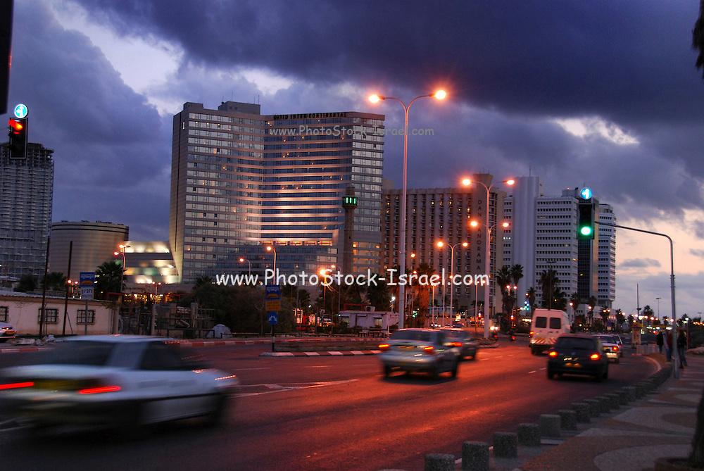Israel, Tel Aviv, Hasan Beq Mosque and the Dan Panorama and king David hotels at night